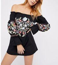 FREE PEOPLE Enchanted Embroidered Fleur Garden Black Shoulder  Dress ☮ XSMALL