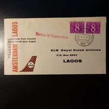 PAYS BAS AVIATION LETTRE COVER PREMIER VOL AMSTERDAM LAGOS NIGERIA 1961