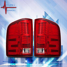 2007-2013 Chevy Silverado LED Tail Lights Chrome Red Lens Rear Lamps PAIR