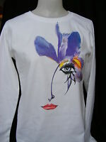 White Long Sleeve Tee Purple Floral Face Fine Art T-shirt Top Size Small