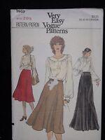 Very Easy Vogue Patterns Vtg 80s 9933 Size 26.5  Uncut Long Short Skirts Blouse