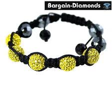 shamballa yellow swarovski disco balls hematite beads macrame hip hop bracelet