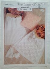 Peter Gregory Knitting Pattern 7146 DK Pram Blankets & Cushion Cover for Baby