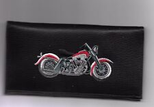 MOTORCYCLE BLACK LEATHER CHECKBOOK COVER RED AND CHROME NEW ITEM