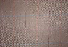 "1.5 Yards  Plaid Wool Blend Brown Window Pane 60"" Wide"