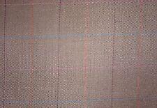 """2.25 Yards Brown Window Pane Plaid Wool Blend 60"""" Wide"""