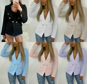 Women's Ladies Gold Button Double Breasted Padded Shoulder Blazer Outwear Jacket