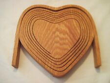 Heart shaped Wooden Spiral Cut Collapsible Basket