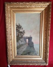 Tableau ancien: Un soir sur une falaise bretonne par Monnier