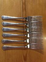 6 x Antique Walker Silver Plate EPNS Dessert Forks 17.5cm