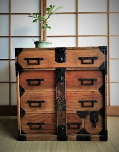 Antique Japanese Furniture Clothes Chest Interior Cabinet 1900s Tansu Small 22in