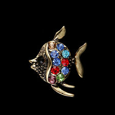 2Pcs Retro Bronze Fish Rhinestone Crystal Brooch Pin Party Jewelry Gift
