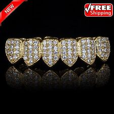 18K Gold Plated High Quality CZ Bottom Row Fang GRILLZ Mouth Teeth Grills NEW HX