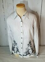Talbots Petites Blouse Shirt Women's Size 8 Black and White Striped Embroidered