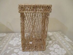 Square Wire Frame Woven Reed Basket w/Lid (2pcs)