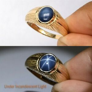 3.25ct 6 Rays Dark Blue Star Sapphire Men Ring Solid 14K Yellow Gold Size 10US