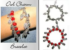 ~1x RED OR SILVER OWL CHARM BRACELET~Stretch~One Size Fits All