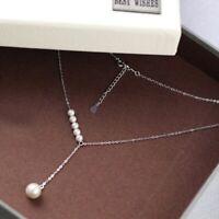 925 Silber Kette mit Perlen verstellbar
