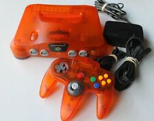 Fire Orange Nintendo 64 System Console Complete Bundle Clear Colored Hookups HTF
