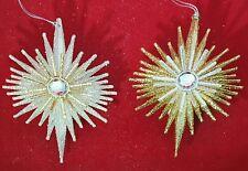 "Star Gold Silver Christmas 5.5"" Glitter Jewel Acrylic Ornament Set 2 Kurt Adler"