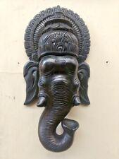 Wall Hanging Ganesha Wooden Sculpture Vintage Ganesh Bust Hindu God Statue Decor
