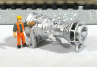 N Scale 15MW Industrial Gas Turbine Model Railroad Flatcar Load METALLIC