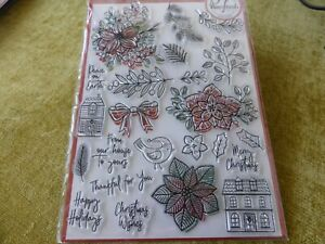 RUBBER STAMP SET 24 CHRISTMAS FLOWERS BIRD HOUSES IDEAL  FOR CARD MAKING