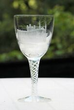 Vintage Engraved Wine Glass Goblet Chester Cathedral 1970 Signed