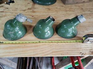 "3 Vintage 8"" Green Porcelain Light Fixture"