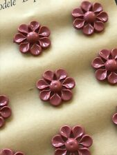 Vintage Buttons -  12 Magenta Pink Carved Flower Casein Shank Buttons - France