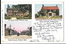 Medford Massachusetts Multiview 1906 Rutland VT PMK to Jersey UK, Square, Houses