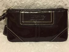 COACH Wristlet Patent Leather Dark Brown Color Good Used Condition Clean Inside