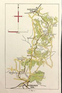 Antique Pocket Map Walk c1900 SURREY Haslemere Fernhurst Henly Midhurst Station