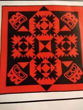 "Quilt Kit Applique Ravens Tale Red + Black 48"" Alaskan Indian Wall Hanging"