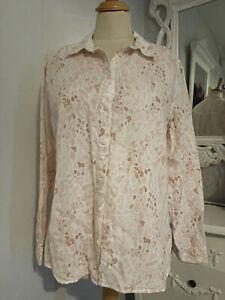 Ladies M&S Pink Linen Rich Soft Animal Print Shirt UK Size 12