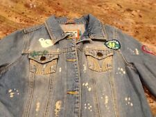 Hollister Woman's Denim Jean Jacket Sz Large Patches Distressed