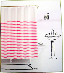 Kate Spade New York Harbour Stripe Shower Curtain Pink White 72 x 72 NEW