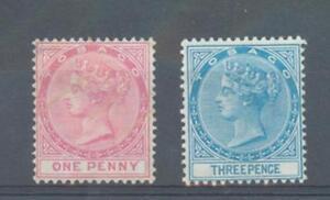 Tobago 1879 sg.1-2 1d and 3d perf 14 crown CC unused no gum