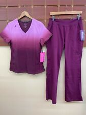 New listing New Wine Print Scrubs Set With Koi Small Top & Healing Hands Small Pants Nwt