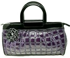 Ladies Handbag Purple Quilted Faux Patent Leather Doctors Bag Shape Zip Plastic