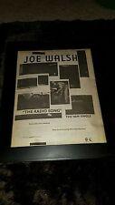 Joe Walsh The Radio Song Rare Original Radio Promo Poster Ad Framed!