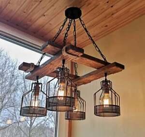 Rustic Wood Chandelier, Hanging, Pendant Light, Farmhouse, Vintage, Suspended