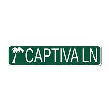 CAPTIVA LN Island Beach Resort - Green Vinyl on White - 4X17 Aluminum Sign