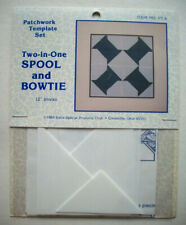 "Spool and Bowtie plastic templates for quilt quilting 12"" block"