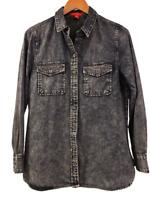 New SAKS Fifth Avenue Womens Dark Blue Striped Beaded Denim Western Shirt Top XS