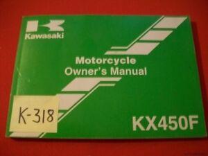 KAWASAKI ORIGINAL FACTORY KX450F - D6F MOTORCYCLE OWNER'S MANUAL #99987-1341 VGC