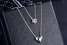 Kette Halskette Silber Herzchen Herz Anhänger Sterlingsilber 925 Strass Glitzer
