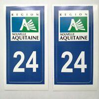 Sticker autocollant immatriculation département 24 Dordogne Nouvelle Aquitaine