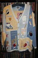 Storybook Knits HSN Occupation Chef Teacher Fireman Cardigan Sweater L (bin64)