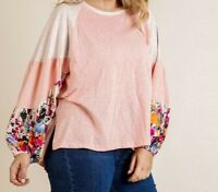 New Umgee Top 1X Color Block Floral Raglan Puff Sleeve Boho Peasant Plus Size